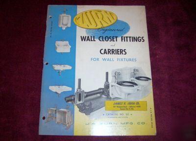 1950 J A Zurn Mfg Catalog No 50 Wall Closet Fittings