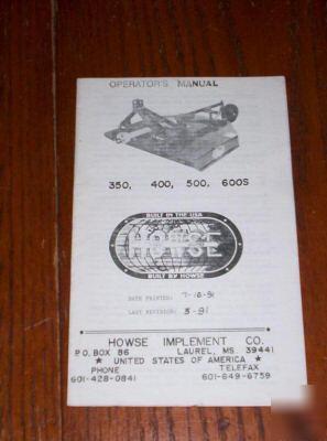 Howse Bush Hog Operators Manual 350 400 500 600s