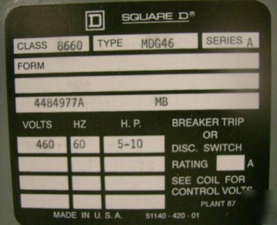 Square d breaker trip solid state 8660 MDG46 ser: a