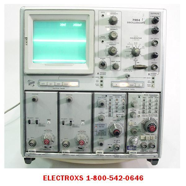 Tektronix 7904 mainframe with 2 am-6565/u, 7B50, 7B53A
