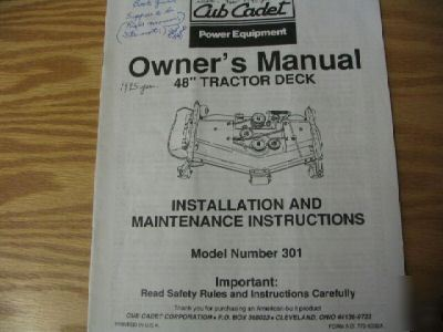 Cub cadet 48 inch garden tractor deck owners manual 301