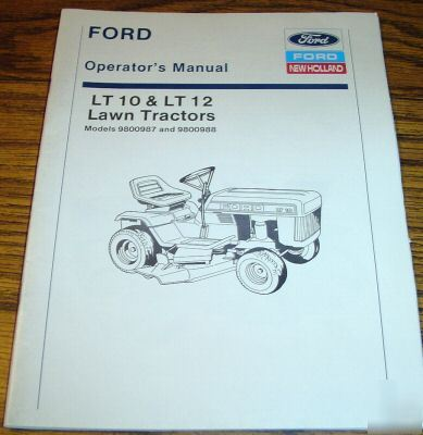 Ford lt 10 & lt 12 lawn tractor operator's manual book