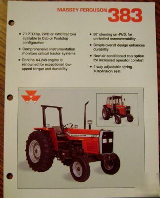 Massey ferguson mf 383 tractor spec sheet brochure