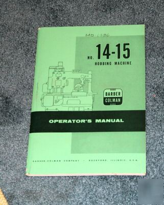 Barber colman 14-15 operators manual