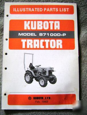 Kubota B7100D-p tractor parts catalog manual book
