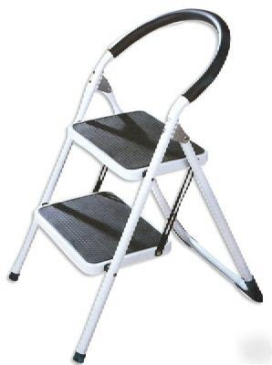 2 step ladder stool heavy duty no slip mat step seat