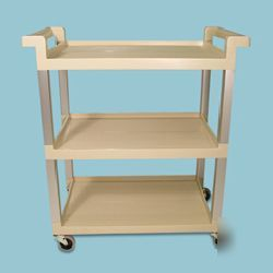 3-shelf service cart with alum. upright-rcp 9T65-71 bei