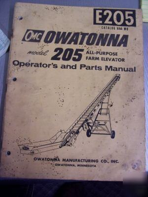 Owatonna 205 farm elevator operators parts manual