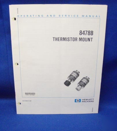 Hp 8478B thermistor mount operating & service manual