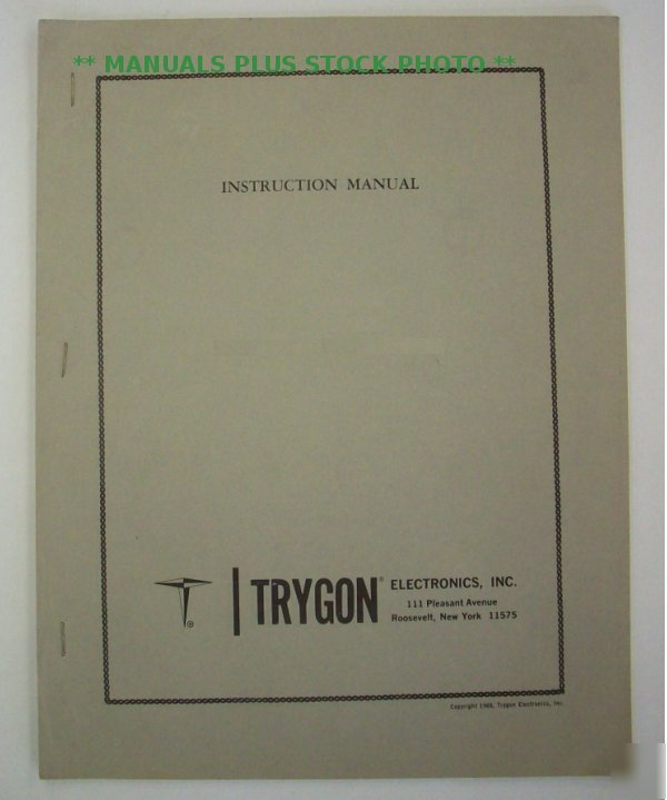 Trygon M36-30A op/service manual - $5 shipping