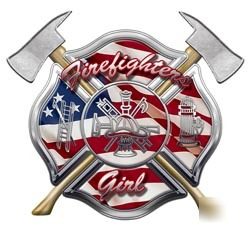 Firefighters girl decal reflective 6