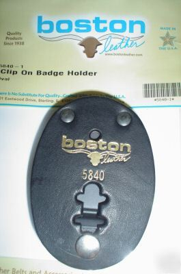 New boston leather oval badge belt clip on holder 5840