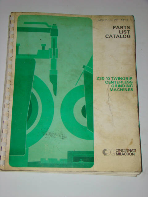 Cincinnati milacron 230-10 parts catalog V881
