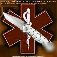 Fire fighter emt pocket rescue tool tactical knife silv