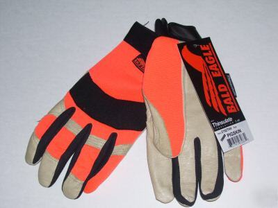 Pigskin mechanics gloves thinsulate-hi viz hunter-xlg