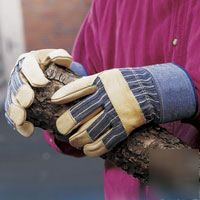 New mustang work gloves, cowhide & cotton, size men's m