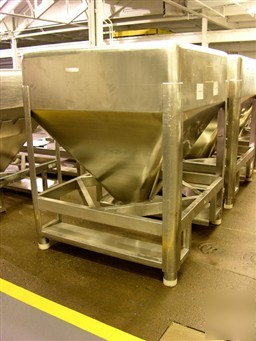 Used: b&g tote, 45 cu ft, sanitary stainless steel cons