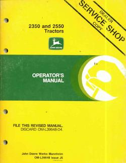 John deere operators manual for 2350 2550 tractors good